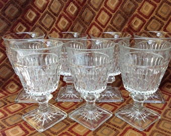 Seven Crystal Goblets with Square Foot