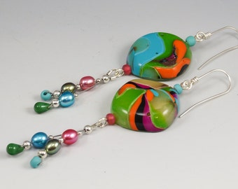Handcrafted Pearl Dangle Earrings - Tropical Turquoise Green Orange No. 182