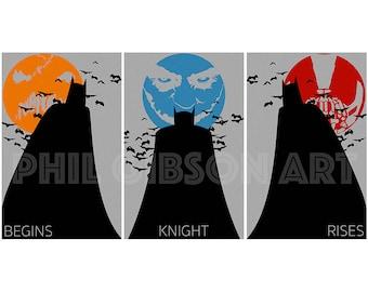 Original Dark Knight Trilogy Triptych 11 x 17 Art Print Poster Set Batman Joker Bane