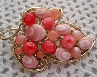 1960s Mod Style Leaf Vintage PIN  Glass Beads Rhinestones Pink Coral Shrimp Color Bright Spring Charm