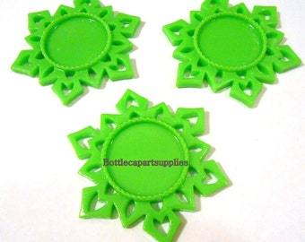 """4 LIME GREEN  Snowflake Resin Flatbacks Cabs Charms You Choose Colors fits 1"""" round images"""