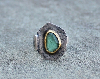 Tourmaline Ring - Rose Cut Tourmaline - Blue Green Tourmaline Ring - Indicolite Tourmaline Ring - 18 KT gold Bezel - Rustic Tourmaline Ring