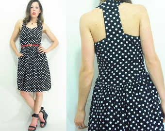 T BACK 80's Vintage Black Polka Dot Dress / Racerback Dress / Full Skirt Midi Sundress