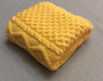 PRICE REDUCED, Chunky hand knit baby blanket, Honeybee, 27x36