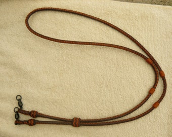 Braided Kangaroo Leather Field/Hunting Lanyard Brandy/Saddle Tan - Made To Order