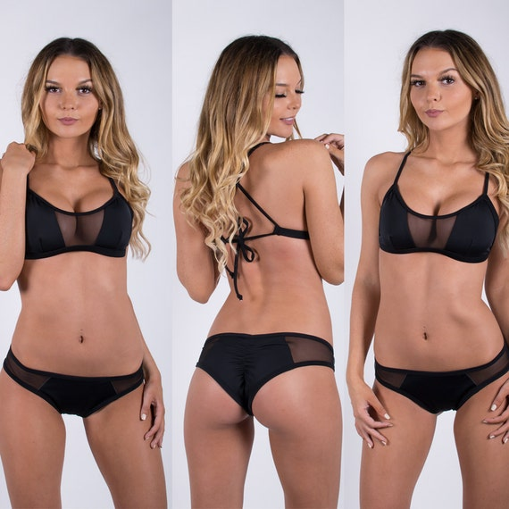 Black/Mesh X Back Halter Bikini Set