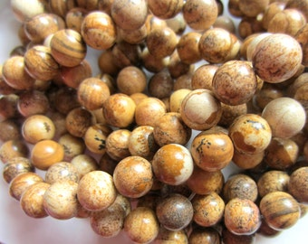 Picture jasper beads 10mm gemstone jewelry supplies strand 36 beads natural brown beads