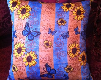 "Butterfly Sunflower Memories 18"" Pillow Designer Fabric with Stripes by LauriJon™ Studio City"
