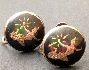 Siamese Thai Black and Silver Enamel Screw Back Round Earrings