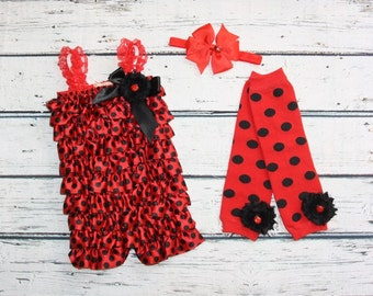 Ladybug Petti Romper, Legging and Headband Set- Red Black Petti Romper-Ladybug Outfit- Romper-Polka Dot Romper-1st Birthday Romper