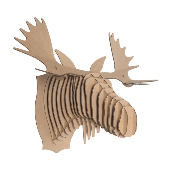 Fred large cardboard moose head brown by cardboardsafari on etsy - Cardboard moosehead ...