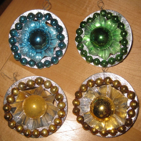 Four Made In Japan Christmas Ornaments Glass And Foil And