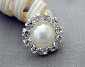 5 Rhinestone Button Ivory Pearl Crystal Button Wedding Invitation Scrapbooking Bridal Brooch Bouquet Cake Decoration DIY BT602