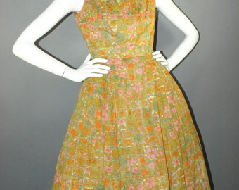 Vintage  50s 60s Orange Pink Green Floral Full Circle Semi Shelf Bust Garden Party Cocktail Dinner Dress by dvgvintage