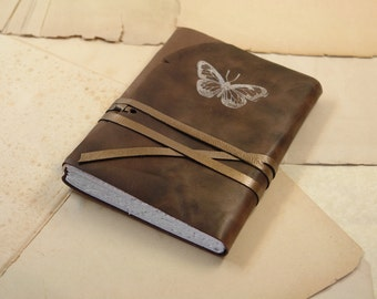 Butterfly - Brown Leather Journal, Vintage Style Journal, Notebook, Diary, Brown Book