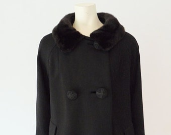 50s black wool coat with MINK COLLAR by Lord and Taylor size large