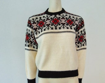 60s acrylic knit NORDIC Ski Sweater size medium
