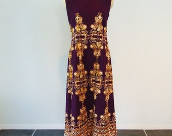 60s cotton Let's Go To Bali maxi dress size small