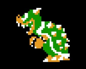Instant Download - NES Bowser Bead Sprite or Knitting/Crochet Pattern - Pattern Only - Nintendo NES Video Game Retro Nintendo Geek Enemy