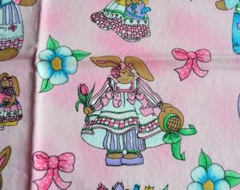 Easter Fabric - Hi Fashion Bunny Rabbits on Pink - 43 x 46