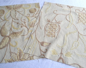 Upholstery Sample Fabrics - Wool Crewel Upholstery - Tan and Yellow Floral - Repurpose