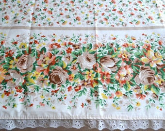Vintage Bed Sheet - Taupe and Orange Flowers and Roses - Full Flat