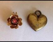 Vintage Flower and Heart Pendants Pink Rhinestone