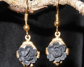 Deep Black Rose Earrings Small Dangle Accent 1 Inch Medieval Gothic Victorian Style Dark Romantic Evening
