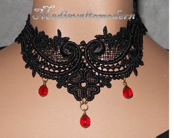 Black Small Red Teardrop  Medieval Lace Victorian Style Choker  by Medievaltomodern