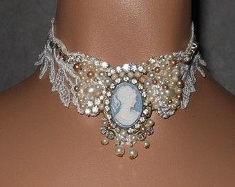 Collar Choker Hand Beaded Cream Rhinestone Victorian Wedding Wearable Art Statement Cameo Vintage Costume Romantic Sparkle Princess