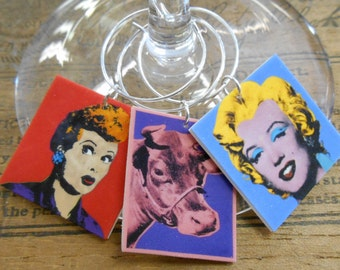 8 Andy Warhol Paintings Wine Charms - Great unique gift for the Wine or Art Lover Comes in a cool vintage Gift Tin  FAST SHIPPING