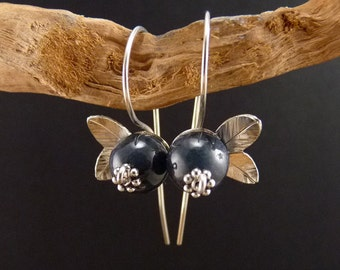 Blueberry Sterling Silver Earrings Handmade Metalwork