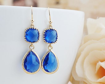 Cobalt blue Glass dangle earrings drop earrings Royal Blue Wedding Jewelry Bridesmaid Earrings Bridesmaid gifts Bridesmaid jewelry