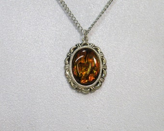 Necklace with Gold Fire Paua Shell Pendant Ornate Gothic Victorian Style Jewelry Handcrafted