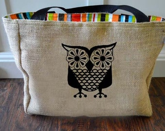 Handmade Vintage Owl Burlap Market Tote Bag