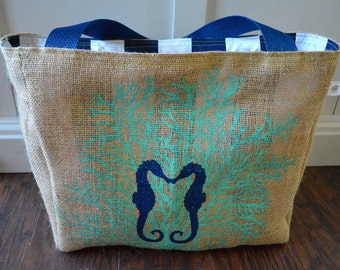 Eco-Friendly Sea Horse Market Tote Bag, Handmade from a Recycled Coffee Sack