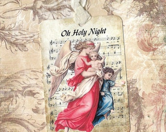 Christmas Gift Tags Angels Oh Holy Night