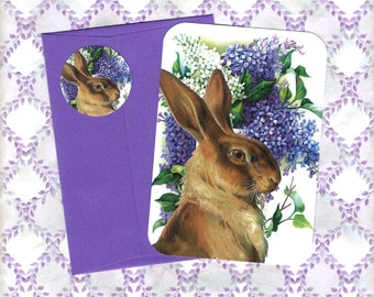 Easter Cards - Spring Lilacs - Rabbit Cards
