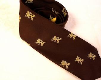 Vintage 1970s Brown The Alumni Shop Clubs by Blanford Lion necktie