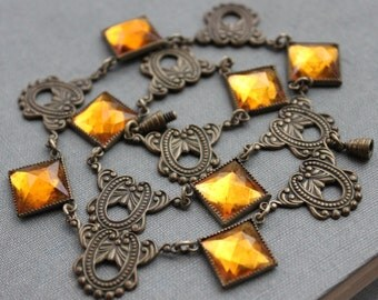 Art Deco Citrine Vauxhall Mirror Glass Necklace