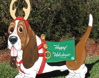"Made to Order Hand Painted Basset Hound Christmas Yard Art ""Rocket"" - Santa's Reindeer Basset"