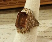 Vintage Smokey Topaz Ring 14kt gold filled