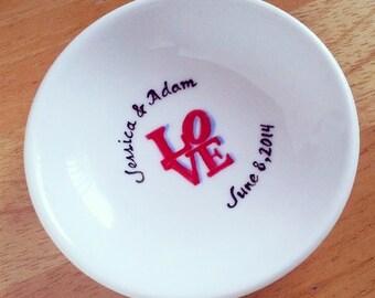 CUSTOM - LOVE- Hand Painted Ring Dish - Valentine Gift