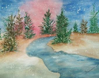 Original Watercolor Painting, Winter Sunset Watercolor Painting, Original Artwork, watercolor art, Original painting,wall decor