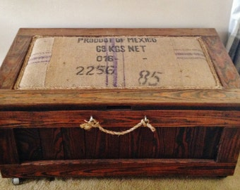 Farmhouse Rustic Coffee Table Bench Trunk