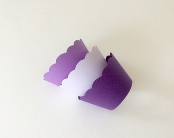 Purple Cupcake Wrappers - Shades of purple - wedding Cupcake Wrappers, bridal Shower, Baby Shower