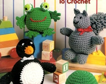 Roly Poly Toys Crochet Turtle Frog Squirrel Penguin Bear Ball Cat Soft Sculptre Stuffed Dolls Craft Pattern Leaflet 2381 Leisure Arts