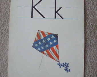 "Vintage Alphabet Flashcard Letter K for Kite 14"" by 11"" by Milton Bradley"