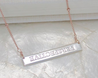 Perspective Inspiration Bar Necklace of Fine Silver and Sterling Silver, or 14kt Yellow, or Rose Gold Fill - Eco Friendly