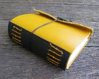 A7 Yellow and Black Leather Journal